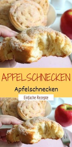 apple Apfelschnecken Ingredients for the dough 160 ml milk (lukewarm) 60 g sugar 1 pc. Egg 1 pinch of salt 1 cube of germ 2 tablespoons of natural yogurt 150 g butter (room temperature) 1 pack of baking powder 600 g of flour - Pastry Recipes, Tart Recipes, Apple Recipes, Dump Cake Recipes, Dessert Recipes, Natural Yogurt, Ground Turkey Recipes, Mini Desserts, Food Cakes