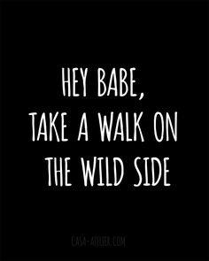 hey babe, take a walk on the wild side