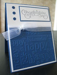 Happy Birthday Card Embossed Happy Birthday. $1.75, via Etsy.
