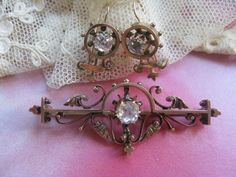 Victorian 10K Paste Pin & Paste Earrings in Gold Fill from inspiredbynanny on Ruby Lane