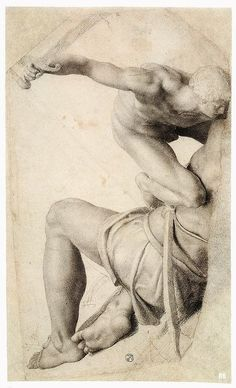 David and Goliath 1550-56. Daniele da Volterra. Italian 1509-1566. chalk drawing.