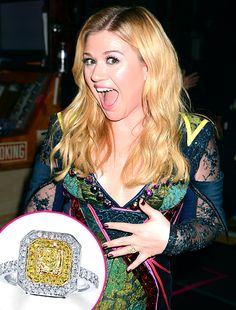 Get Kelly Clarkson's Engagement Ring Look for Less: Yellow Diamond Ring 1 CT. T.W. Cushion-Cut 18K Two-Tone Gold, $2,999.99, at Jared