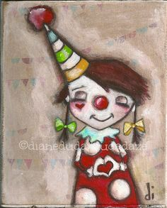 "Original Mini Painting on wood  ""My Funny Valentine""  ©dianeduda/dudadaze"