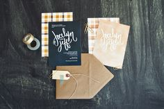 plaid #wedding #invitations