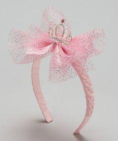 Pink Glittering Tiara & Bow Headband
