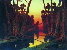 """Arkhip Kuindzhi (1842-1910) Sunset in a Forest """