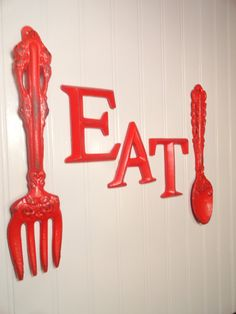 Fork and Spoon Wall Decor  Eat Sign  Apple Red  by JUNKINTIME, $35. I would need to paint green.