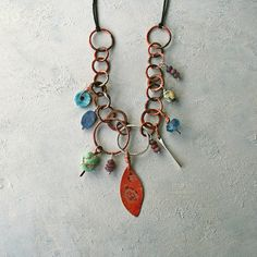 Ethnic charm necklace - Boho style copper and ceramic Red Agate, Handmade Copper, Ceramic Beads, Blue Beads, Copper Jewelry, Boho Necklace, Handmade Necklaces, Artisan Jewelry, Sterling Silver Rings