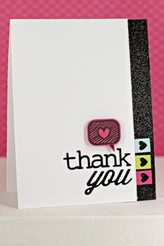 Heart Bubble Thank You Card by Erin Lincoln for Papertrey Ink (August 2013)