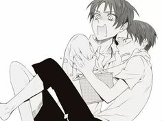 Levi x Eren, when watching a horror movie >>>> Maybe they just saw a titan tho.