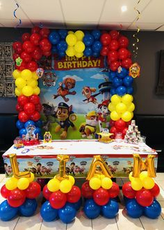2nd birthday 2 Birthday, Thomas Birthday Parties, Birthday Party Tables, Paw Patrol Birthday Decorations, Paw Patrol Birthday Theme, Paw Patrol Balloons, Party Ideas, Baby, Paw Patrol Decorations