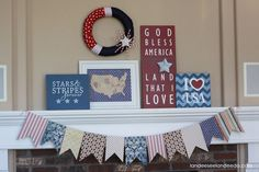 4th of July Mantel (several DIY projects to create this)