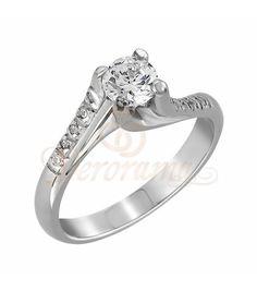 Μονόπετρo δαχτυλίδι Κ18 λευκόχρυσο με διαμάντι κοπής brilliant - MBR_066