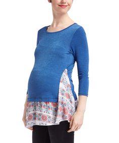 Casa Lee Royal Blue Maternity Three-Quarter Sleeve Tunic