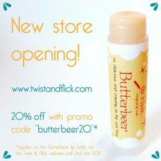My new shop opened today! I'll be selling lip balms inspired by movies, books and other tales mainly and I'll add all sorts of handmade beauty products later on.   Take a look at www.twistandflick.com and get the new Butterbeer Lip Balm with 20% off!