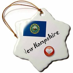 3dRose LLC I Love New Hampshire 3Inch Snowflake Porcelain Ornament ** Read more  at the image link.