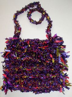 Knit bag by mixed media artist Corinne Stubson - velour and variegated ribbon