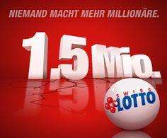 Gewinne am Samstag mit Swiss Lotto bis zu 1'500'000 Franken!  Setzte jetzt dein Spielguthaben aus einem Swisslos-Wettbewerb ein, denn du kannst 1'500'000 Franken zu gewinnen.  Hier 1'500'000 Franken gewinnen: http://www.gratis-schweiz.ch/gewinne-mit-swiss-lotto-1500000-franken/