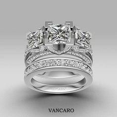Vancaro Princess cut 3 stone engagement ring