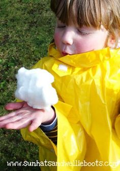 """Little Cloud - Outdoor Play  could also put halloween spider webbing """"cloud"""" or cotton batting """"cloud"""" in sensory table"""