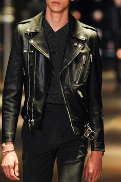 I have a womens leather very simiiar to this one. I guess its time to put it back into commission. Saint Laurent Spring/Summer 2014 Menswear at Paris Fashion Week #fashion