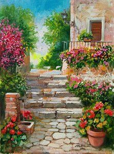 Flowering Courtyard - Italy Painting by Gioia Mannucci Landscape Art, Landscape Paintings, Italy Painting, Watercolor Artwork, Watercolour, Garden Painting, Nature Paintings, Acrylic Art, Stone Painting