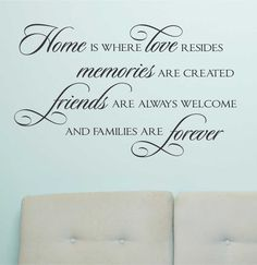 Vinyl Wall Lettering Home Love resides Memories Created Family Forever Quotes
