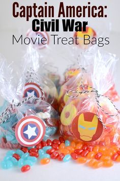 Captain America: Civil War – Movie Treat Bags. Had to make sure that we have some good treats for the movie this weekend. Find out what candy I used for both Team Captain and Team Iron Man!
