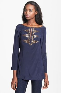 Tory Burch 'Samantha' Embellished Silk Tunic available at Silk Tunic, Tunic Blouse, Shell Tops, Plus Size Maxi Dresses, Old Navy Women, Boho Outfits, Dress Skirt, Ideias Fashion, Tory Burch