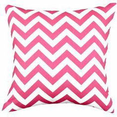 "Cotton pillow with a chevron motif.  Product: PillowConstruction Material: Cotton cover and hypoallergenic polyester fillColor: PinkFeatures:Zippered closure Insert included Dimensions: 17"" x 17""Cleaning and Care: Machine washable"