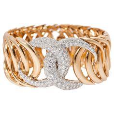 Verdura Double Crescent Diamond Gold Platinum Bracelet   From a unique collection of vintage link bracelets at https://www.1stdibs.com/jewelry/bracelets/link-bracelets/