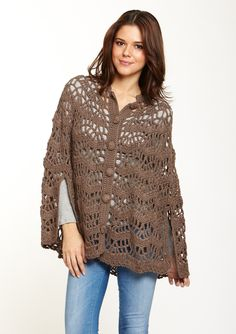 Okay, I think it's hilarious that this crochet cape is considered current and stylish when I have an off-white one in the closet that I use in the winter that I inherited from my hubby's mother that looks JUST like this (complete w/fabric-covered buttons). Wow.