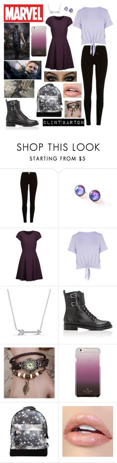 """""""Hawkeye"""" by slytherinavenger ❤ liked on Polyvore featuring River Island, Badgley Mischka, Boohoo, Marvel, Anne Sisteron, Gianvito Rossi, Kate Spade and Mi-Pac"""