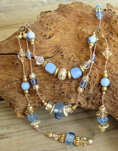 Boho Chic Ocean Blue Bib Necklace with Gold Accents by BohoStyleMe
