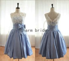 Pale sky blue Taffeta On the back V Neck Lace Bridesmaid Dresses affordable Party Dresses
