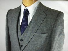 VINTAGE 3 Piece Barleycorn Tweed Suit Botany 500 Reversible Vest 38R