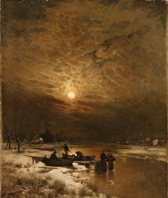 Winter by the river by Ludwig Lanckow
