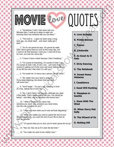 """Printable Bridal Shower Game """"Movie Love Quotes""""  - try to guess which movie these famous love quotes come from! #bridalshowergames #printab..."""