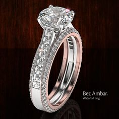 This 2 carat diamond ring with Blaze diamonds and matching bookend bands in 18k rose gold will make you feel like a queen. Click for more Bez Ambar designs.