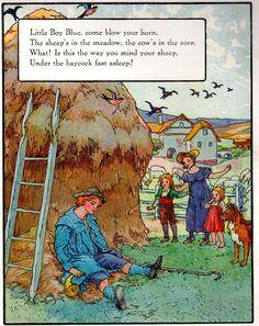 Frederick Richardson, Mother Goose, illustrator, Little Boy Blue Nursery Rhymes Poems, Rhymes Songs, Rhymes Lyrics, Nursery Rhythm, Pomes, Kids Poems, Little Boy Blue, Vintage Nursery, Mother Goose