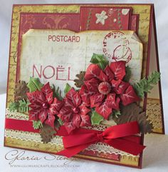 Grungy Noel Christmas Card...with post card paper, lace, ribbon, & poinsettias.