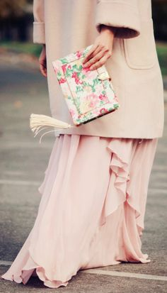 Vintage Rose: Maxi Dress And Pale Pink Coat by Hallie Daily