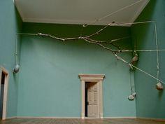 sketch for an installation | schets voor een installatie 2009/2011, scale model, branch, rope & stones | maquette, tak, touw & stenen 10 photos © Maarten Brinkman