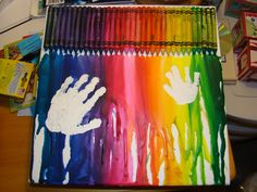 Crayon Melt with cute handprints