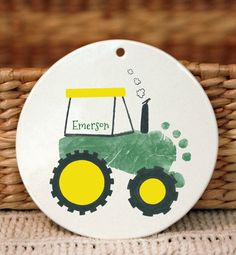 Tractor Footprint Ornament 102_ornament by MyForeverPrints on Etsy
