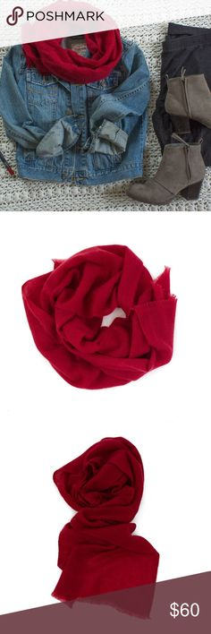 """100% small cashmere scarf (NWOT) This is a beautiful and brand new handmade scarf,made in Nepal.Extremely soft and warm. Ruby red color and made with 100% cashmere. Size 12"""" * 65"""". Accessories Scarves & Wraps"""