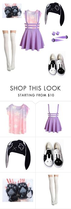 """""""Pastel Goth Bunny"""" by kanayaeridansollux ❤️ liked on Polyvore featuring HVBAO"""