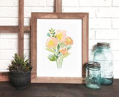 Beautiful floral watercolor print. DevonDesignCo on etsy #watercolorflowers #homedecor #watercolorart