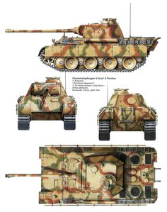 Раnzer V Ausf.A Panther. German Soldiers Ww2, German Army, Army Vehicles, Armored Vehicles, Camouflage Colors, Tiger Tank, Military Armor, Model Tanks, Engin