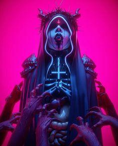Arte Cyberpunk, Cyberpunk Aesthetic, Dark Fantasy Art, Sick, Arte Punk, New Retro Wave, Beautiful Dark Art, Satanic Art, Evil Art